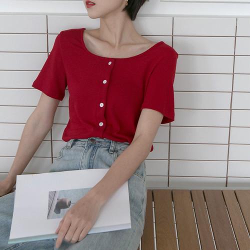 【トップス】シンプルオシャレ感たっぷりシングルブレストTシャツ18641628
