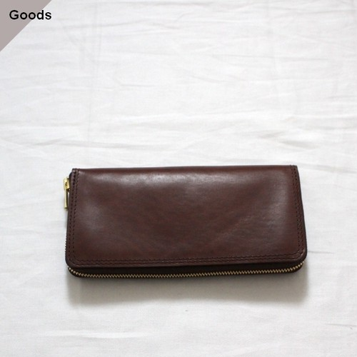 vasco オイルドレザーロングウォレット LEATHER VOYAGE ROUND ZIP LONG WALLET VSC-701Z ブラウン(CORTESIA)