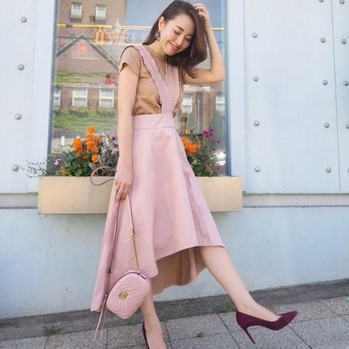 コントラストジャンパースカート(ピンク)