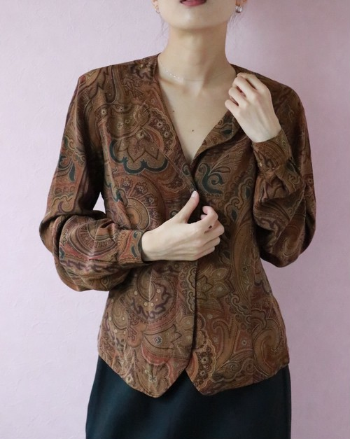 Brown silk blouse