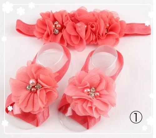 お子様ヘアバンド&フットバンドセット 可愛いお花付き ピンク色
