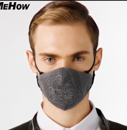 MEHOW Fashion Mask Gray(曲線幾何学)