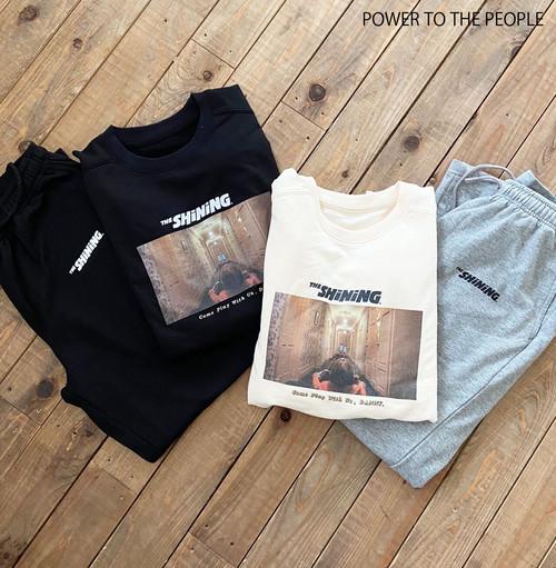 〈THE SHINING〉セットアップルームウェア 七分袖Tシャツ+ロングパンツ NO0715057