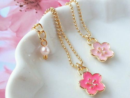 霞桜のドール用ネックレス