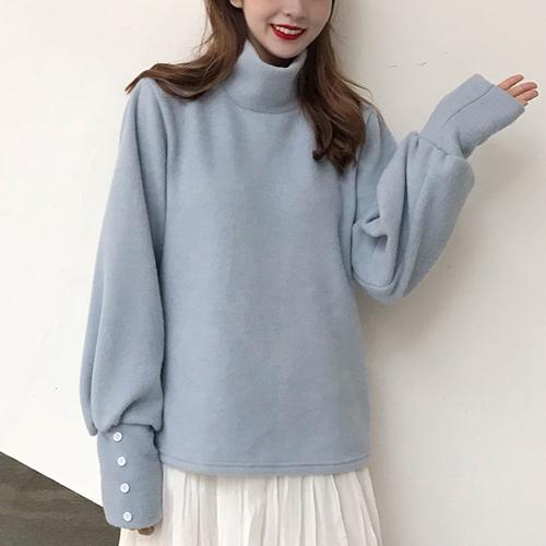 【トップス】韓国版レトロプルオーバーハイネック無地カジュアルニットセーター