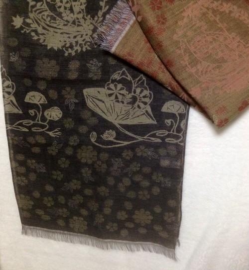 白雲友子「籠芽カゴメ」風通織スカーフ(大).    wool70%+silk30% scarf(L)