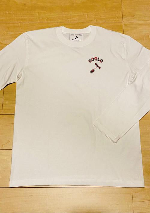 COQLOロゴ (White) / 長袖T-Shirt / 5.6オンス ヘビーウェイト