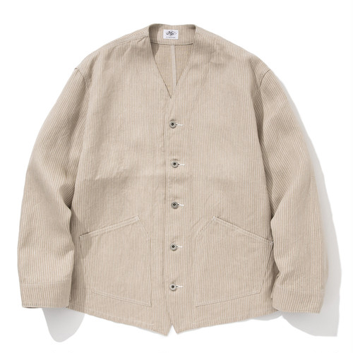 """Just Right """"Engineers Jacket Linen Hickory"""" Beige"""