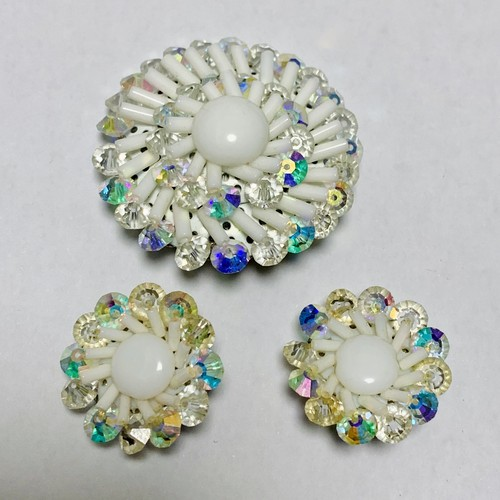 Vintage Cluster Earrings & Brooch Made In West Germany