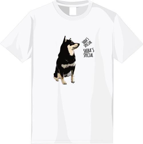 【期間限定受注】選べる全6種!フルカラー柴犬デザインTシャツ<①:黒柴文字ありタイプ>