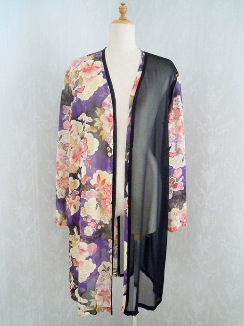 和柄シースルー羽織(紫)