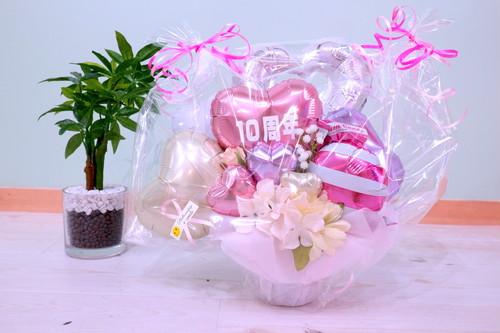 結婚式やお誕生日のお祝いに卓上バルーンギフトI(バルーンアレンジ) 送料込み 引き取りの場合5,000円(文字シール別途費用)