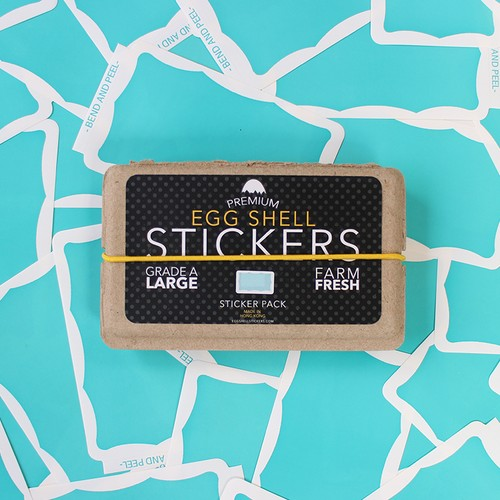 EGGSHELL STICKERS TEAL WAVY BORDER - 80pcs