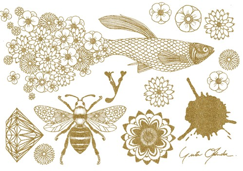 Fabric Sticker <Guppy> A5 size