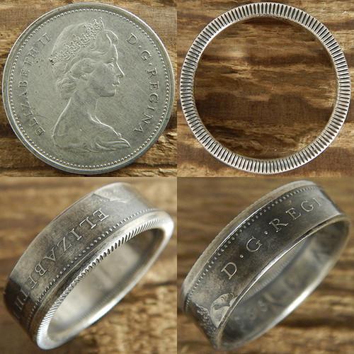 【受注生産】CANADA エリザベス2世25セント2nd シルバーコインリングA 肖像面【カナダ ヴィンテージ 25セント銀貨】