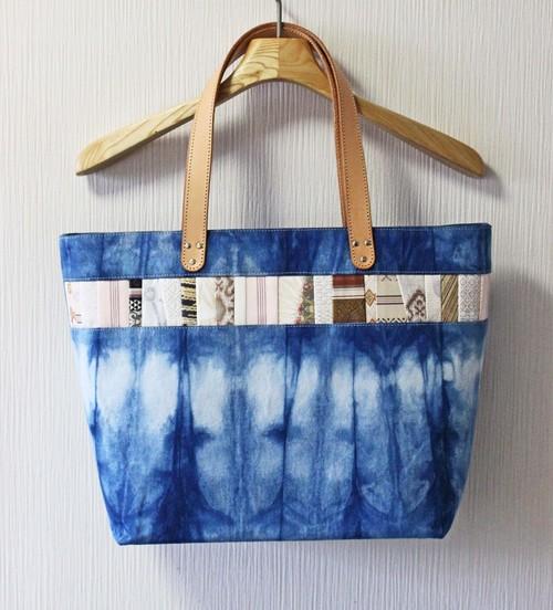 博多織×デニムトートバッグ「連」L 藍染めデニム×ベージュレザー(LT-35)
