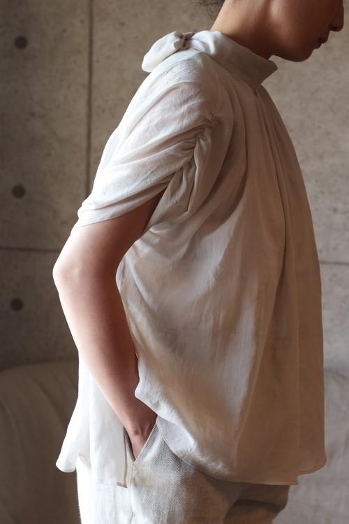 Cotton chiffon top (Lightgrey) 綿シフォンハイネック-トップス
