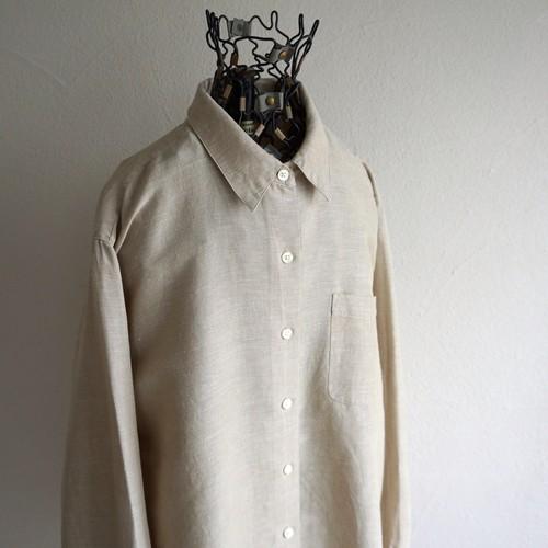 1990's [G.H.BASS & CO.] リネン×コットン L/Sシャツ ベージュ 表記(women's M) ジョージヘンリーバス