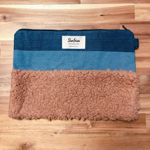 Denim clutch bag MC - Brown
