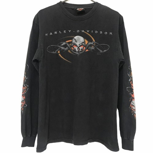 90's HARLEY DAVIDSON T-shirt Skull Black