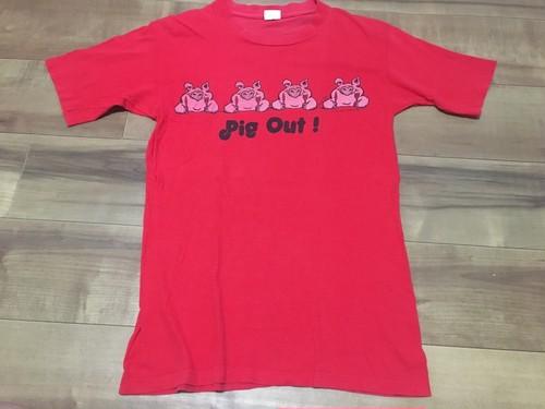 アメリカ製 ビンテージ シングルステッチ プリントTシャツ pig out 豚 ブタ
