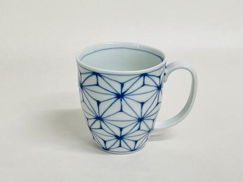 麻の葉(一珍)波マグカップ 青
