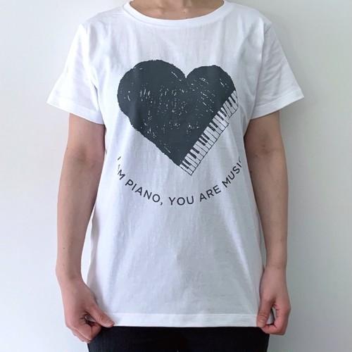 【送料無料】2色展開【Tシャツ】オリジナルデザイン「ハートピアノ」