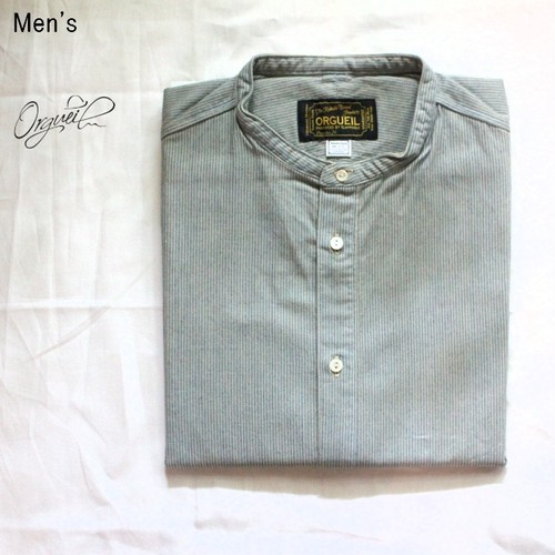 Orgueil  バンドカラーシャツ Band Collar Shirt (INDIGO STRIPE)