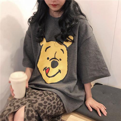 【トップス】シンプルカートゥーン売れ筋ストレッチ配色やわらかな素材半袖Tシャツ