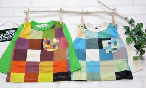 【ラスト1セット】双子ベビー服2枚セット★ボーイズツイン★ハンドプリントブロック柄長袖Tシャツ80cm<14ss-bt006r-P
