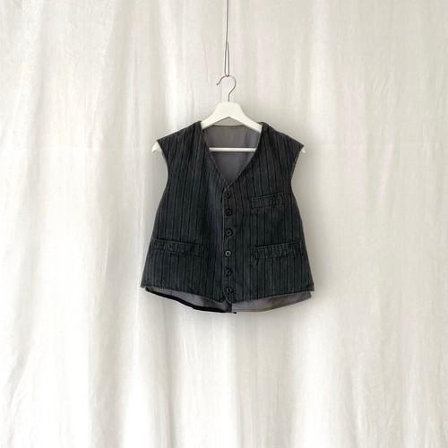 FRANCE 40s~vintage stripes farmers vest charcoal gray