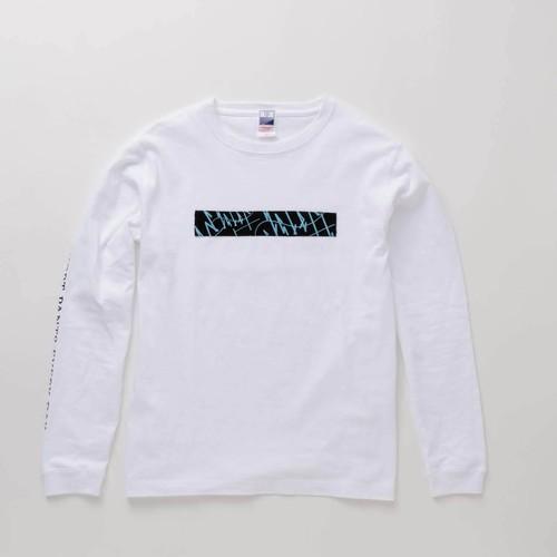 L/S T-Shirt BOX WAVES White × Blue