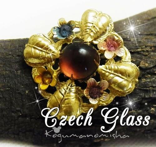 チェコフィリグリー★パープルカボッションガラス  ラインストーン フラワー ヴィンテージ エナメル ブローチ 1940s レトロ