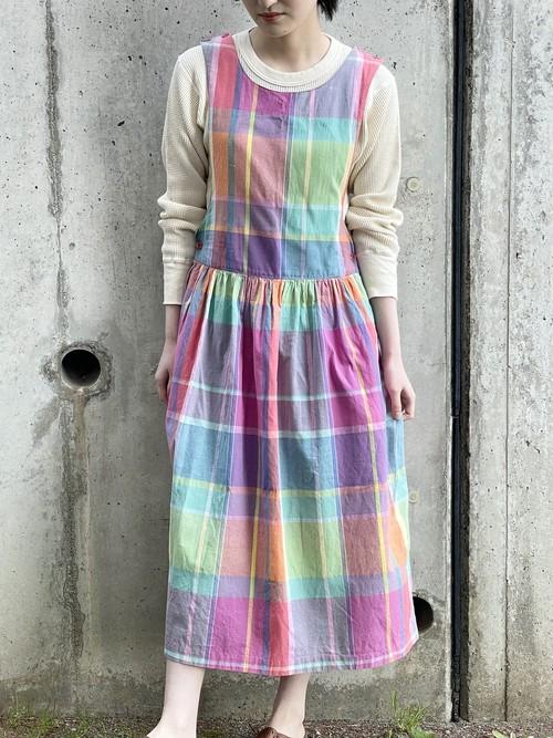 Vintage Madras Check Sleeveless Dress