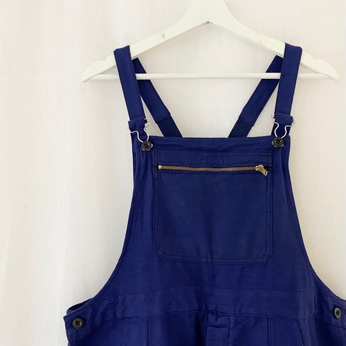 """FRANCE 70s~vintage""""LE MINEUR""""ink blue cotton twill work salopette-DEAD STOCK/ONE WASHED-"""