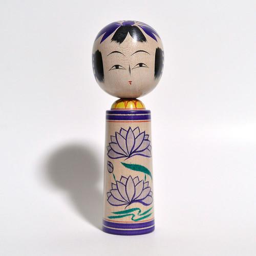 5寸こけし(太胴 蓮) 約5寸 約15.9cm 梅木直美 工人(蔵王高湯系)#0014