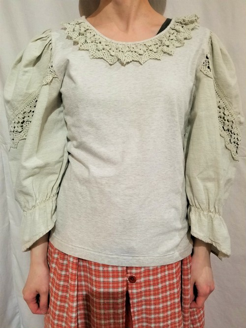 Lace collar tyrolean tops [G-1188]
