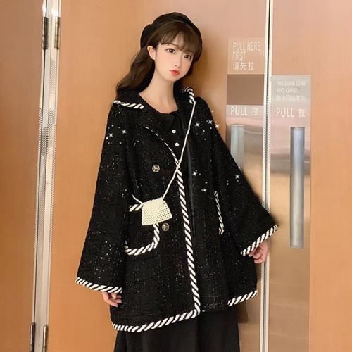 【アウター】スウィートレトロラメ入り折り襟配色ラシャコート