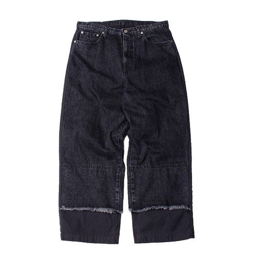 Layered Denim Pants -black <LSD-AI3P5>
