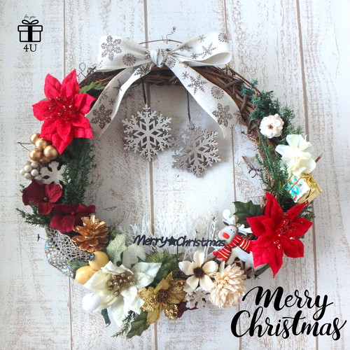 【クリスマス】Merry Christmas✳︎  雪の結晶&トナカイ クリスマスフラワーリース ウィンターリース