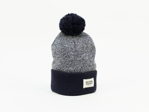 TIGHT KNIT CONTRAST POM POM BEANIE - NAVY