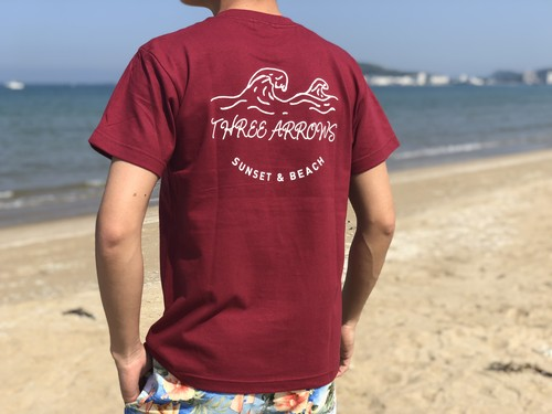 SUNSET & BEACH Tシャツ(bordeaux)