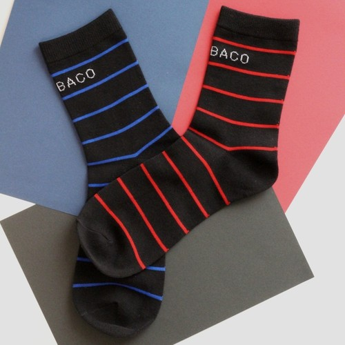 GETABACO STRIPED SOCKS [RED&BLUE] 25-27cm