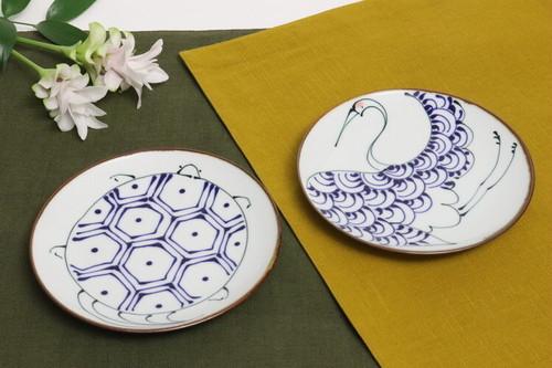 【波佐見焼】5寸皿 鶴亀/ [Hasami-yaki] Plate 15cm 'Crane & Turtle'  #119