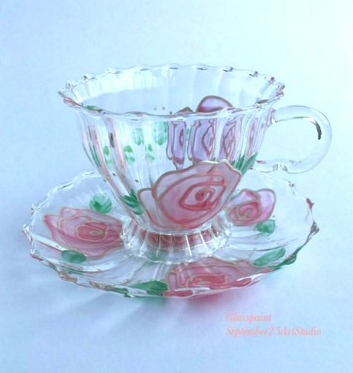 【母の日ギフト】乙女ピンクゴールドローズのティーカップ&ソーサ1つ/母の日ギフト・誕生日プレゼント