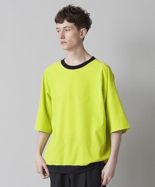 クリアプリント裾リブビッグTシャツ(ライトグリーン)