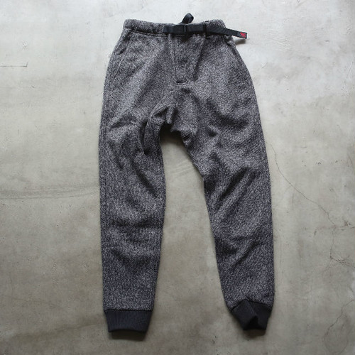 GRAMICCI BONDING KNIT FLEECE NARROW RIB PANTS CHARCOAL×BLACK