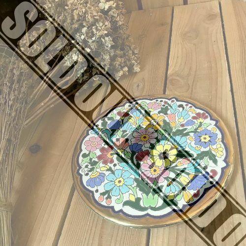≫スペイン製ヴィンテージ*Sevillarte*古い24KT金彩装飾フラワーオーナメントプレート22.5cm*花絵皿*飾り皿*デコ*ビンテージアンティーク