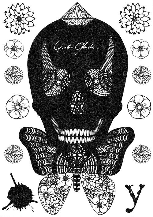 Fabric Sticker <yutaokuda Skull> A5 size