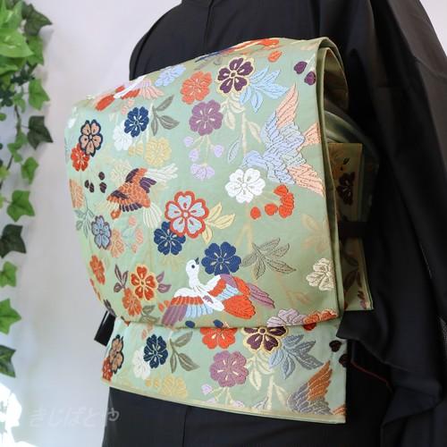 正絹 龍泉青磁釉色に花鳥の袋帯